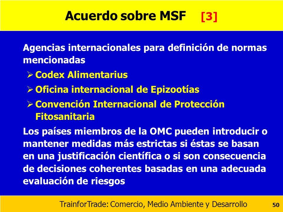 Acuerdo sobre MSF [3] Agencias internacionales para definición de normas mencionadas. Codex Alimentarius.